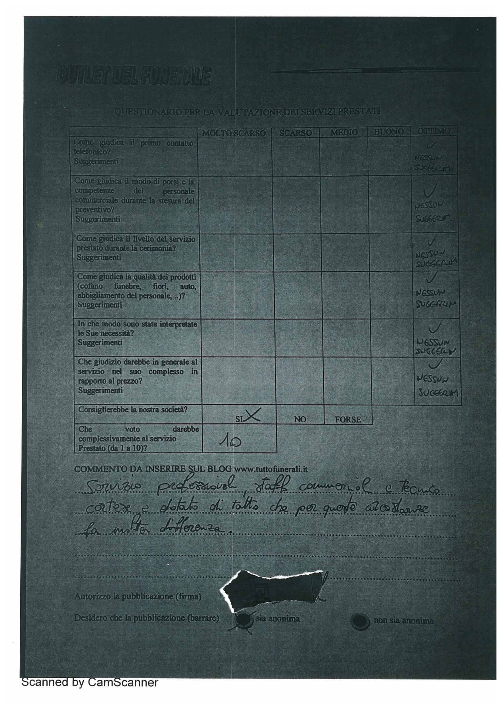 Funerale : Questionario di valutazione del servizio prestato da outlet del funerale; opinioni su outlet del funerale; testimonianze su outlet del funerale