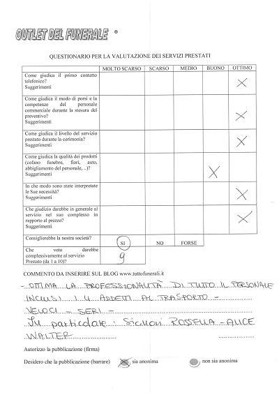 outlet del funerale: giudizi opinioni valutazione dei clienti